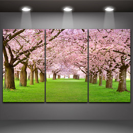 Wholesale Sakura Tree - Cherry Blossom Picture Sakura Tree Landscape Painting Print on Canvas Wall Picture Home Living Office Mural Decor