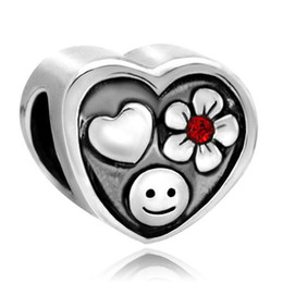 Wholesale Silver Smile Charms - Metal Slider Spacer Big Hole Cube Heart Flower Smile European Bead Fit Pandora Chamilia Biagi Charm Bracelet