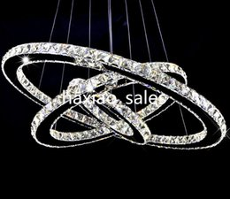 Wholesale Vintage Crystal Ceiling Light - Modern LED Crystal Chandeliers Pendant Lights Ceiling Hanging Lighting Fixtures with AC110-240V LED SMD Round Ring Diamond CE FCC ROHS