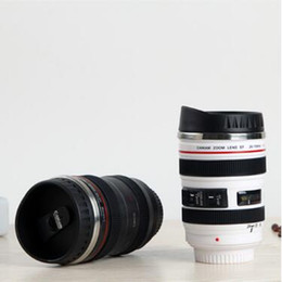 Wholesale white thermos cup - Creative Camera Lens Cup Coffee Tea Bottles 400ml Travel Mug Stainless Steel Thermos SLR Lens Coffee Mugs CCA7918 30pcs