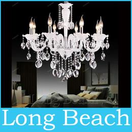 2019 moderno ferro gaiola lâmpada pingente Lustres de Iluminação de Cristal branco 8 Braço moderno lustre de cristal para sala de estar luzes quarto lâmpada k9 candelabro luz