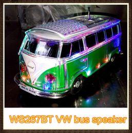 Wholesale Cheap Promotion Toys - 5pcs dhl free mini led crystal bus VW speaker WS267BT with usb tf fm ,promotion cheap children toy speaker with usb tf fm