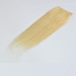 # 613 Bleach Blonde Lace Closure 4 * 4 Pouces Swiss Lace Cheveux Raides Humains Fermeture Trois Partie / Partie du Milieu / Partie Libre ? partir de fabricateur