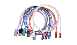 Wholesale Cord Net - 3m micro 5pin fabric fish net braided metal head micro usb data cable cord for samsung s3 s4 note 2