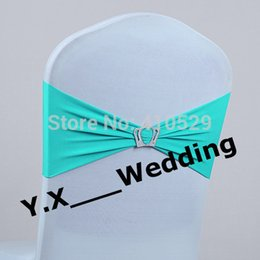 Wholesale Turquoise Spandex Chairs Sashes - Wholesale-Turquoise Color Chair Band With King Shape Buckle Spandex Chair Sash Chair Band For Wedding Chair Cover