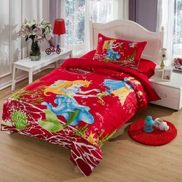 Wholesale Twin Size Girls Bedspreads - The little Mermaid bedding set twin size kids girls toddler cartoon red quilt duvet cover bed in a bag sheet bedspreads cotton