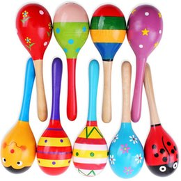 Wholesale Mini Wooden Instruments - baby Wooden Toy cute Rattle toys Mini Baby Sand Hammer baby toys musical instruments Educational Toys Mixed colours