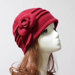 Wholesale Adult Bucket Hats - Newest Wool Cloche Hat Floral Desgin Bucket Cap Beanies 6 Colors Available Free Shipping