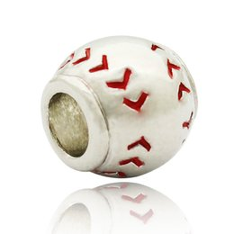 Wholesale Pandora I Love Charm - Fashion women jewelry Pandora style i love sports red sew baseball European spacer bead large hole charms for beaded bracelet