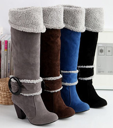 Wholesale Chunky Heel Buckle Boot - Snow Boots Big size 34-43 Square High Heels Knee High Winter Shoes for Women Sexy Warm Fur Buckle Fashion Boots