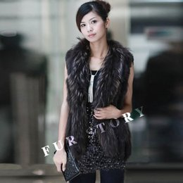 Wholesale Knit Vest Fur Collar - Wholesale-020101B knitted real rabbit fur vest winter coat racccoon fur collar and Placket sleeveless waistcoat women dress
