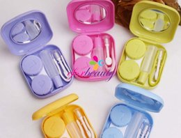 Wholesale Small Mirrored Boxes - Mini cute color plastic Contact Lenses case boxes travel kit set Contact lens holder storage with Small Mirror