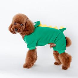 Wholesale Dinosaur Dog Clothes - ANGELASHOP dog apparel auttum winter 4 feet clothes pink blue green dinosaur suit teddy homewear pet accessorice cotton pet coat