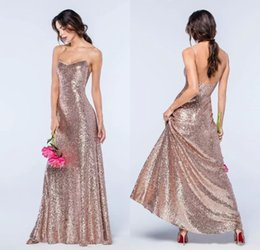 Wholesale Bling Sheath Wedding Dress - Bling Rose Gold Sequins Bridesmaid Dresses 2018 Sheath Bridesmaids Dresses With Spaghetti Straps Backless Formal Gowns Wedding Guest Dress