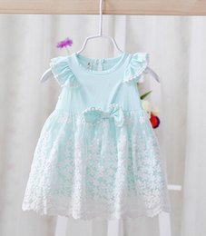Wholesale Nets Dress New Style - 2016 summer wear new infant tutu dress princess style net yarn flowers embroidery baby dress bowknot fly sleeve little girls costume ab2071