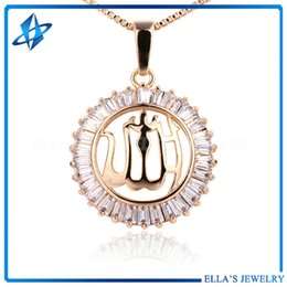 Wholesale Real Muslim Necklaces - Muslim Arab Pendant Necklace for Women Men Fashion Trendy 18k Real Gold Plated CZ Crystal Rhinestone Party Gift Jewelry Necklace