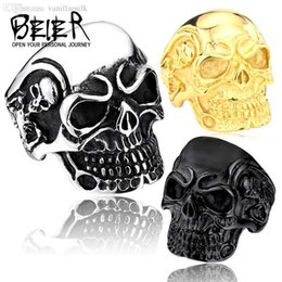 Wholesale Stainless Skull Rings - Wholesale-Drop Ship Fashion Ring Stainless Steel Rings For Man Big Tripple Skull Ring Punk Biker Jewelry BR8-068