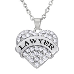 Wholesale Crystal Diy - Fashion Design Wholesale Elegant Rhodium plated three Color Crystal Heart Text LAWYER Necklaces Pendant DIY Jewelry Making