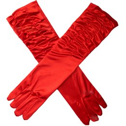 Wholesale Wedding Dresses Long Gloves - Red and Black Long Elbow Full Finger Gloves Mittens F Party Wedding Bridal Evening Dress Cheap Price Bridal Gloves