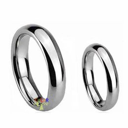Wholesale Tungsten Couples Wedding Rings - Wholesale-2pcs Couple Lady Mens Silver Tone Dome Tungsten Ring WEDDING BAND Anniversary Gifts Size 5-14 FREE SHIP