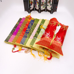 Wholesale Hotel Tissue - Cloth Art Tissue Box Cover Rectangular Patchwork Damask Chinese knot Jade Tassel Paper napkin sleeve for Hotel Tearoom marriage room Decor