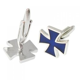 Wholesale Cross Barrette - Stainless Steel Men Cuff Link CUFFLINKS Shirt Set Iron Cross Windmill--Blue, IN STOCK, FREE SHIPPING order<$18no track