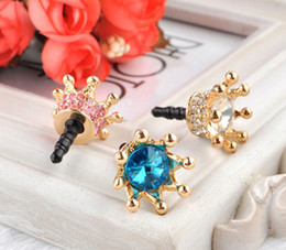 Wholesale Crown Earphone Jack Accessory - Dust Plug Crown Cover Headset Baroque Golden Phone Accessories Dust-proof Earphone Crystal Anti Ear Cap for iPhone 6 5 5S 4 4S Samsung HTC