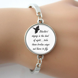 Wholesale Picture Friend - Glass Gem Metal Charm Blackbird Singing In The Dead Of Night Art Picture Bracelets Bangles,Song Lyrics Jewelry For Friends Gift