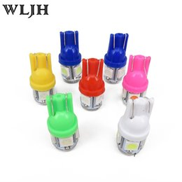 Wholesale 168 Auto Bulb Blue - WLJH T10 168 W5W 5 SMD 5050 LED Car Light Lamp Vehicle Auto Interior Dome Map Lights Bulbs White Red Blue Yellow Pink