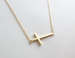 Wholesale Wholesale Sideways Cross Necklaces - 10pcs lot Gold Silver Simple Tiny Faith Religious Cross Necklaces Sideways Cross Cool Christian Cross Necklaces N63