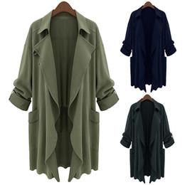 Wholesale Cotton Trench Women Overcoat - Plus Size 5XL Women Trench Coat Fashion Autumn Spring Overcoat Casual Slim Long Coats Outwear -MX8