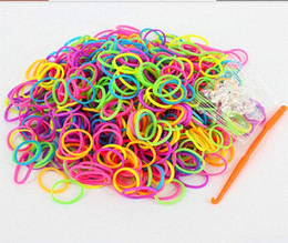 Wholesale silicone loom bands - Colorful DIY Bands Rubber jelly Intelligence toys Loom rubber Bands a pack of 600pcs+24 S clips