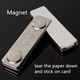 Wholesale Track Magnetic Card - 1pc GOOD Magnetic Badge Fastener Magnetic Buckle Identity Card Holder Name Badge Labels Metal Card Magnetic Size 45mm*13mm order<$18no track