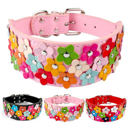 Wholesale Dog Leather Collars Xl - Flower Studded Dog Collar New Arrival Leather Pet Collar S M L XL Pink Black Red