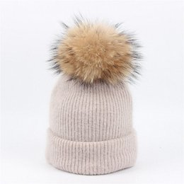 Wholesale Grey Fur Raccoon - High Quality Kids rabbit hair knit hat baby raccoon fur ball solid color curling head cap hat warm ear protection winter hats