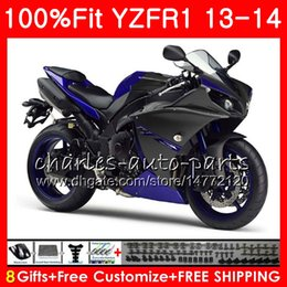 Wholesale Body Kit Yamaha R1 Purple - Injection Body For YAMAHA gloss blue YZF 1000 YZF-R1 13 14 YZFR1 2013 2014 86NO41 YZF R 1 YZF-1000 YZF1000 YZF R1 13 14 Fairing kit 100%Fit