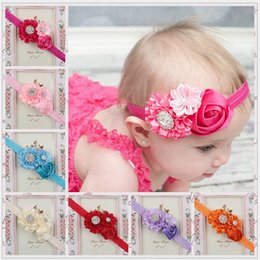 Wholesale Babies Head Bands - Baby Girls headbands Rose Flower Bows Rhinestones Infant Kids Hair Accessories Head bands for Wedding party
