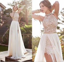 Wholesale Pearl Straps - Vintage 2015 Julie Vino Summer A-line Lace Wedding Dresses New Halter Backless Lace High Slit Chiffon A-line Beach PromEvening Gowns BO5557