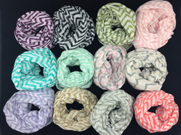 Wholesale Cotton Circle Scarf - 10pcs lots New High quality Wave Chevron Infinity Scarf Women and Teens Circle Loop scarf circle ring scarf Loop scarf