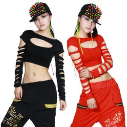 Wholesale Sexy Hip Hop Dance Wear - 2015 New Fashion dance hip hop short top female Jazz cutout costume neon performance wear vest Sexy hollow out costumes shirt