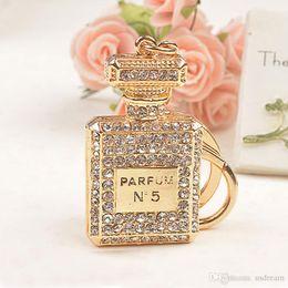 Wholesale jewelry bottles - Diamond Crystal N5 Perfume Bottle keychain Carabiner Key Chain Rings Holders Handbag Hangs Women Fashion Jewelry Drop Shipping