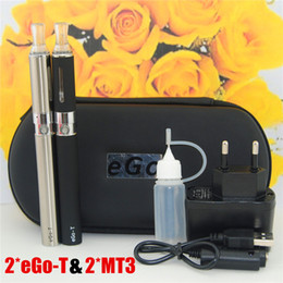 Wholesale Ego T Double Zipper Kit - 15pcs E-Cigarette EGO MT3 Starter kit E-cig Kits EGO-T kit Double cigarettes Zipper Case Pack Various Colors 650 900 1100mah ego kits DHL