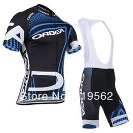 Wholesale Racing Suit Xl - Wholesale summer NEW design blue men's outdoors sports road racing ORBEA clothing Bicycle wear shirts cycling jerseys +bibs shorts suit