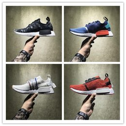 Wholesale Hongkong Shoes - High-quality Boost NMD Shoes Red Apple HongKong Vlone Black Zebra NMD R1 Real Boost Men Women Running Shoes Sports Sneakers