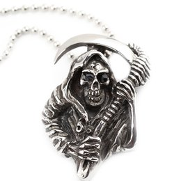 Wholesale Reaper Halloween - men's punk jewelry sickle cool grim Reaper skeleton skull Gothic pendant necklaces vintage silver cool jewelry for men ZJ-0903488