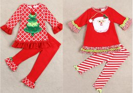 Wholesale Girls Tutu Jackets - how sale Children's stripe Outfits christmas trees Dutch titiyeah sleeve Father Christmas Kids Clothing baby grid sets jacket +pants 2style