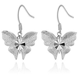 Wholesale Amethyst Cars - Foreign jewelry Plated 925 Silver Earrings New Car butterfly earrings and hot spot AE1012