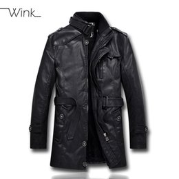 Wholesale Mens Clothes Leather Jacket - Fall-Mens PU Leather Fleece Jacket Motorcycle Men Bomber Coat Padded Stand Collar Cool Outdoor Fleece Clothing Jaqueta Masculino E449