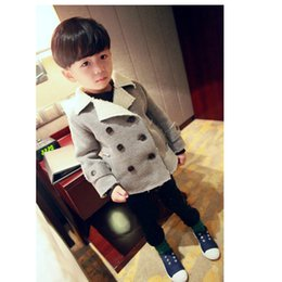 Wholesale Korean Waistcoats Boys - Wholesale-2016 Boys Winter Models Plus Korean Velvet Light Gray Double-breasted Jacket Lapel Short Paragraph Long-sleeved Jacket