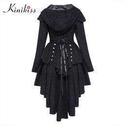 Wholesale Tailcoat Bow - Wholesale- Kinikiss Women Trench Coat 2017 Black Gothic Outerwear Hooded Bow Button Lace Up Vintage Tailcoat Fashion Slim Overcoat